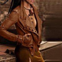 패션 여성 플러스 사이즈 재킷 코트 레이디 가짜 가죽 자켓 2020 겨울 레이디 오토바이 긴 소매 짧은 여성 코트 Outwear1