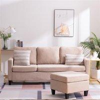 Nieuwe dubbele chaise longue comfortabele combinatie sofa beige hoogwaardige materiaal (194 x 126 x 89) cm