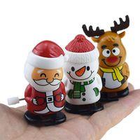 Christmas Plastic Windup Toys Santa Claus Snowman Toys Horlogework Jouets Beaux enfants Jump Cadeau Cartoon Personnages Christmas Cadeaux de Noël LLA743-II