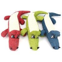 Brinquedo do cão do animal de estimação do crocodilo do pelúcia de linho mastigam o brinquedo rigoroso do ruído Dentes de limpeza de boneca interativa dos dentes da boneca JK2012XB