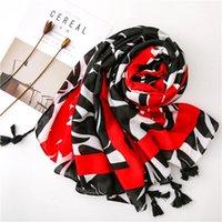 Шарфы Кицяо Женщины Головной шарф 2021 Женская осень Весна Испания Стиль этнического дизайнера Длинный Геометрический напечатан глушитель