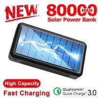 80000mah بنك الطاقة الشمسية شاحن خارجي المحمولة الشحن السريع 4 USB LED البطارية الخارجية PoverBank لفون سامسونج XIAOMI