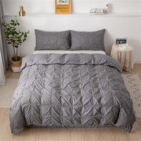3pcs / ensemble Couverture de couette avec taie d'oreiller brève lit de literie complète queen king size lit draps ensembles de couverture de couette couleur nature