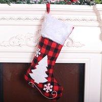 Быстрая доставка Ткань красный и черный плед рождественские носки плюша мультфильм Симпатичные рождественские носки мешок подарков Рождественские украшения украшения F5802