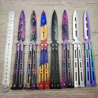 الجملة التيتانيوم قوس قزح اللون 5CR13MOV الفولاذ المقاوم للصدأ السكاكين التدريب فراشة سكين لعبة ممل أداة لا حافة