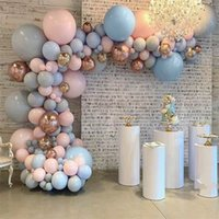 Pastel Baby Pink Blue Grey Macaron Balloon Arco Garland Kit 4D Rose Gold Globones Boda Cumpleaños Fiesta de fondo Decoración T200624