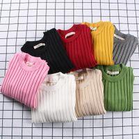 0-6 años Baby Girls Suéteres Campura Color Sólido Niños Niños Suéteres Primavera Otoño Cálido Punto de Punto Cinturón Pullover KF966 201109