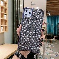 Meninas Pearl Glitter Phone Capas para iPhone 12 11 Pro Max XS XR 8 Plus Metal Chain Chain Capas De Proteção Saco Capa