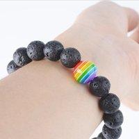 سحر أساور 10 ملليمتر الأسود الحمم الحجارة مطرز سوار مثلي الجنس قوس قزح فخر الصداقة مجوهرات جولة نمط للجنسين bead1