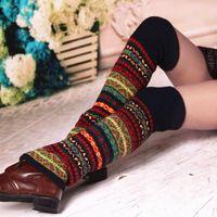 Calzini hosiery 1 paio donne calda ginocchio alto inverno lavorato a maglia a gamba all'uncinetto solido per stivali bracciali lunghi