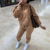 가을 겨울 tracksuits 캐주얼 플러시 2 조각 여성 세트 솜털 땀 흡수 후드 셔츠 긴 스웨트 팬츠 양털 복장
