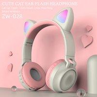 القط الأذن سماعة ستيريو فلاش باس سماعة بلوتوث لاسلكية 5.0 + EDR الرياضة سماعة هيفي الموسيقى سماعة مع هيئة التصنيع العسكري HD ZW-028