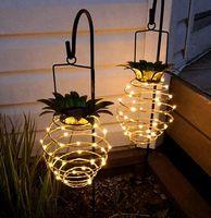 Luces solares piña 30light colgantes luces solares con la manija de la cubierta interior al aire libre Jardín Patio Patio noche enciende KKA8122