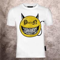 2021 erkek Karikatür Şeytan Gülen Yüz Sıcak Sondaj Baskı Phillip Düz Bahar Ve Yaz Pamuk Moda PP Kısa Kollu T-Shirt