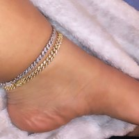 """Sommar New Beach Hot Selling Wom Smycken Iced Out Bling Thin 6.5mm Link Chain Foot Chain Anklet 9 """"10"""""""