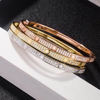Fashion Full Diamond Bangle Rvs Open Manchet Armband voor Vrouwen Mannen Twee Rij Steen Armbanden 3 Kleur Selct Goud Zilver Rosy US Size (16- 19)