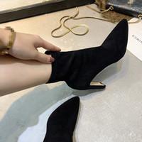 Eoodoit زائد حجم الكعوب النساء جورب الأحذية الأزياء عالية الكعب أشار تو الخريف الشتاء الانزلاق على العجل الجوارب مثير مضخات الأحذية
