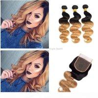 Dunkle Wurzeln Menschenhaar-Bundles mit Spitze Schließung Braun Blond Virgin Malaysain Haar mit freiem Mittel Drei Teil-Spitze-Schliessen mit dem Babyhaar
