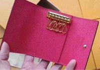 남자를위한 도매 키 지갑 고품질 다색 가죽 짧은 지갑 아가씨 여섯 키 홀더 여성 남성 클래식 지퍼 포켓 키 체인