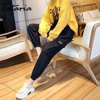 Татария черные высокие талии грузовые брюки женские свободные уличные одежды лодыжки длина брюки женские парень случайные джинсы женские брюки1