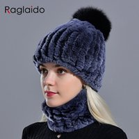 Beanie / Kafatası Kapaklar Kürk Ponpon Şapka Yüzük Eşarp Set kadın Kış Kızlar için Moda Doğal Örme Boyun Isıtıcıları Kadın Kadın