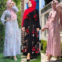 Abbigliamento etnico floreale abaya turco kimono dubai musulmano hijab dress abayas for women kaftan caftan macocain preghiera preghiera islamica Robe femme1