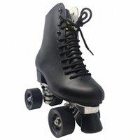 Çift sıra tekerlekli paten 4 tekerlekler paten erkek gerçek deri çizme alüminyum taban açık fırçalama sokak siyah # wf0g