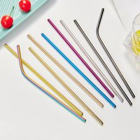 Stainless Steel Metal Straw Reusable Drinking Bent and Straight Type Straws Colorful For Home Party Bar Accessories HHA1662