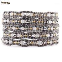 Tenis Gris Crystal Mix Semilla Beads Pulsera de envoltura de cuero para mujer1