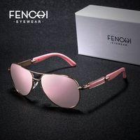 FENCHI polarizada Mulheres Marca Vintage Óculos Driving Pilot Rosa Espelho Óculos de sol Men senhoras oculos de sol feminino