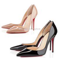 2020 여성을위한 새로운 붉은 밑면 패션 하이힐 파티 웨딩 트리플 블랙 누드 노란색 핑크색 반짝이 스파이크가 뾰족한 발가락 펌프 드레스 신발