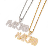 Custom Name Necklace Brush Letters Pendant Iced Out Letters ...