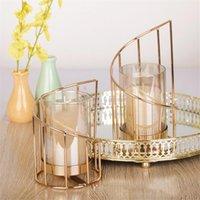 De hierro dorado vela titular Europea geométrica de la palmatoria cristalina romántica taza de la vela la decoración del hogar decoración de la tabla