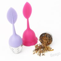 Silicone Tea Infuser Leaf Stainless Steel Leaves Shape Tea Leak Creative Home Office Afternoon Multicolor Tea Filter Opp Bag BH4179 WXM
