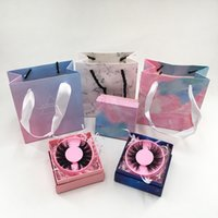 New Eyelash Packaging Box Gray Marble Handbag Empty Square Lash Case Gift Package Bag without Lashes