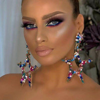 Eile Out Drop Ohrringe Luxus Frauen Fünf Sterne Baumeln Modeschmuck Kristall Strass Aussage Kronleuchter Hochzeit Jewerly Geschenk