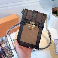 지갑 클래식 인쇄 체인 핸드백 동전 지갑 수직 단일 미니 어깨 가방 크로스 바디 가방 조정 가능한 스트랩 휴대 전화 패키지 상자