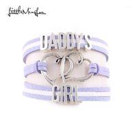 Anklets Little Minglou Daddy's Girl Armband Herz Charme Wildleder Wrap Männer Armbänder Armreifen Für Frauen Schmuck Familie Geschenke Tropfen 1