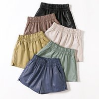 Shintimes Elásticos Elásticos Cintura Largura Lugar Biker Shorts Outono Pu Couro Shorts Mulheres Plus Size Femme Casual Senhoras Shorts Black Y200623