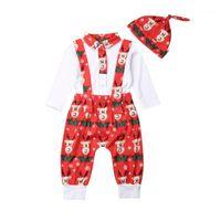 Erkek Bebek Kız Noel Giyim Seti Uzun Kollu Bodysuit Tulum Pantolon Şapka 0-18 M Yenidoğan Bebek Festivali Rahat Pamuk Kıyafetler1