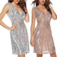 Dress da donna Summer Ladies New Fashion Seallem Deep V Collo a V senza maniche Plus Size Breve Dress Vestidos Abiti da spiaggia femminili