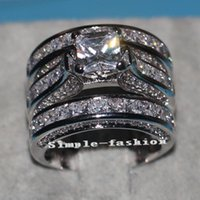 20CT Vecalon Fine CZ Ювелирные Изделия Принцесса Алмазные Отрезывание Обручальное кольцо Обручальное кольцо для женщин 14kt Белое золото наполненное пальцем