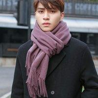 Hot Sale-Winter 100% Lamb Wool Scarf Men Neck Warmer Purple Thicken Wraps Foulard for Man's Cashmere Echarpe Pure Wool Scarves