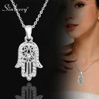 SINLEY NAMIC HAND من فاطمة همسة قلادة المعلقات الفضة اللون سلسلة المختنق النخيل بيان مجوهرات للنساء XL681 SSF1