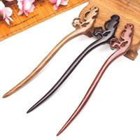 Clip per capelli Barrettes Scoiattolo Scoiattolo fatto a mano intagliato cinese giapponese antico legno bastoncini perni ornamento per donne casual testa gioielli accessori