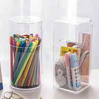 Multi-function Desktop Organiser Stationery Storage Box Makeup Organizer Office Pen Holder Brush Transparent Acrylic Shelf Y1113