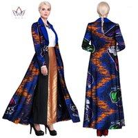 2019 Robes africaines pour femmes Bazin Riche Cire Imprimer Soirée Longues Robes Veste Dashiki Vêtements africains Slim WY9031
