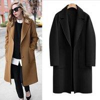 Queeeekalle M - 5XL плюс размер шерстяного пальто 2019 осень зима черный верблюд женские пальто повседневные длинные слои свободно толстые теплые поверхности