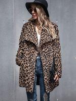 Kadınlar Kış Leopar Peluş Ceket Coat Moda Sonbahar Uzun Stil Cep Casual Teddy Kalın Dış Giyim İçin Kadın CS2037