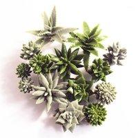Flores decorativas grinaldas tropicais planta suculenta plantas lótus flor paisagem mini verde falsificação flocando aloe home jardim decor1